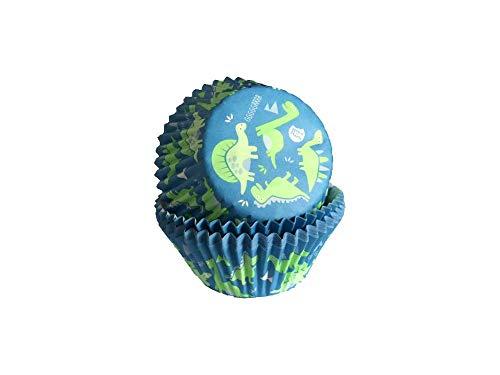 Lot de 50 caissettes à muffins en papier Dino Bleu/vert