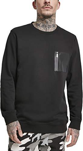 Urban Classics Herren Military Crew Pullover, Schwarz (Black 00007), XXXX-Large (Herstellergröße: 4XL)
