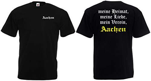 Aachen Herren T-Shirt Meine Heimat, Mein Verein Schwarz XXXL