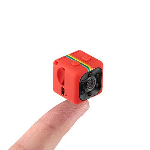Mini cámara espía Sansnail SQ111080P Full HD, visión nocturna, detección de voz, grabador de vídeo (rojo)