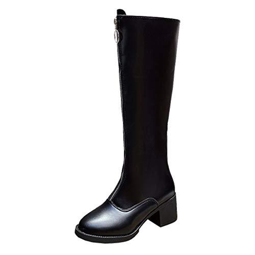Morran Mode Einfarbig Stiefel Overknee Latex Stiefel Wasserdicht Winterschuhe Langschaftstiefel Heelys für mädchen Schuhe mit Reißverschluss(Schwarz,35 EU)