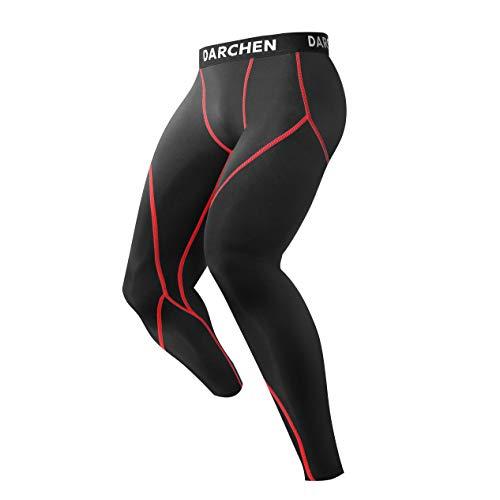 Darchen トレーニングインナー 保温防寒運動着 筋肉サポーター 吸汗速乾 メンズ レッド フラット M