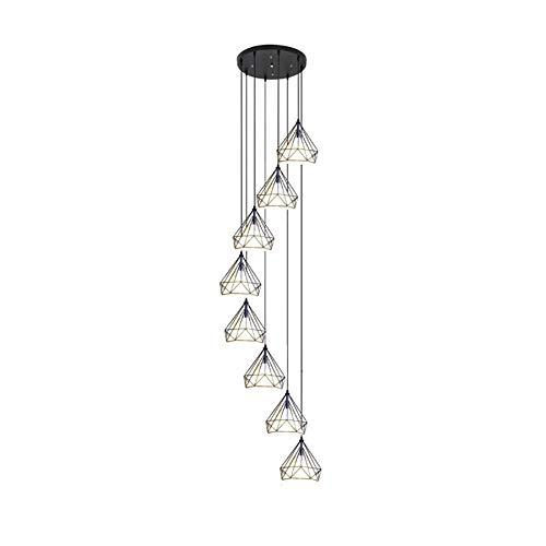 E27 Nórdico Diamante Largo Lámpara De Araña Iluminación,Postmodernista Concisa Durante La Iluminación,Escalera De Caracol Duplex Escalera Escalera,Luz Colgante-Negro. 8 cabezas