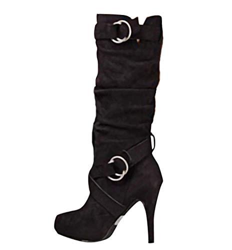Minetom Mujer Botas Largas De Gamuza Casual Tacones Aguja Altos Zapatos Otoño Invierno Retro Botas Altas Calentar Moda Negro 39 EU
