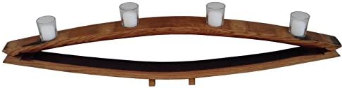 Evans Family Barrels Rustic Reflection Style Wine Barrel Stave Votive Candle Holder 4 Candle product image