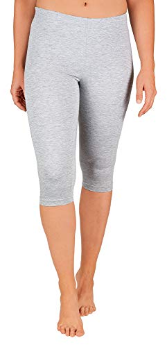 SES Damen Leggings Capri 3/4 grau meliert Baumwolle (48/50)