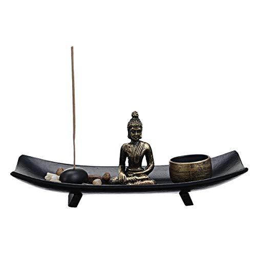 Jeteven Buddha Statue Kerzenständer Buddha Deko Kerzenleuchter mit Teelichthalter,Meditation Kerzenhalter,Buddha Sitzend Zen-Garten Harz Kerzenleuchter-Set