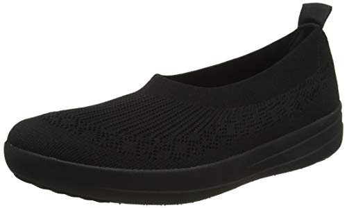 Fitflop Damen Uberknit Slip-on Ballerina Ballerinas, Schwarz (All Black 090), 40 EU