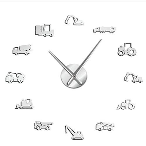 Gbrand Excavadora Moderno DIY DIY Reloj de Pared Equipo Pesado Arquitectura Operador Máquina Oficina Oficina Oficina Oficina Trabajo Vehicles Watch-Plata_37 Pulgadas