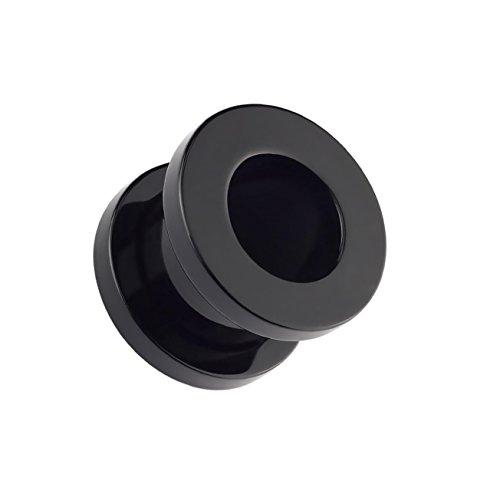 beyoutifulthings Ohr-Tunnel ACRYL Ohr-Piercing Ohr-Schmuck Plug Schraub-Verschluss Schwarz 6mm