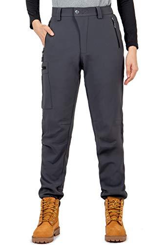 Cycorld Damen Wanderhose-Outdoorhose, Wasserdicht Skihose Winddicht Softshellhose Warm Gefüttert Trekkinghose (Grau, L)