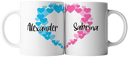 vanVerden Tassen 2er Set - Herz Pärchen Partner tassen - inkl. 2x Wunschname anpassbar personalisiert Valentinstag Geschenk Kaffeetassen, Tassenfarbe:Weiß
