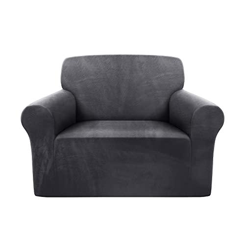 TAOCOCO Funda de sofá , Funda de sofá de Terciopelo, Mantas de sofá, Funda de sofá elástica , Fundas de sofá para Sala de Estar(Gris, 1 Plaza)