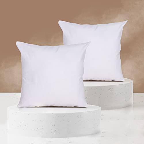Viste tu hogar Pack 2 Fundas de Cojin sin Volante 60x60 cm, Algodón y Poliéster, para Decoración de Hogar en Color Blanco Liso.
