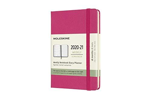 Moleskine - 18-Monats-Kalender/Planer, Kalender 2020/2021 mit Wochenübersicht, Wochenplaner mit Hardcover und elastischem Verschluss, Format Pocket/A6 9 x 14 cm, Farbe bougainvillea-rosa, 128 Seiten
