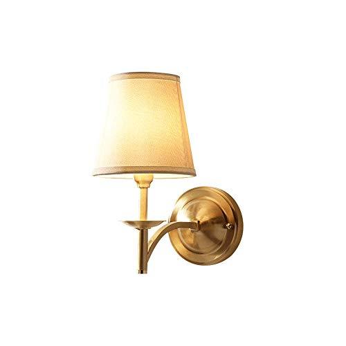 Accesorio de lámpara de pared de cobre, aplique de luces de pared de una cabeza americana con pantalla de tela, iluminación de pared de decoración del hogar interior para baño de pasillo de hotel