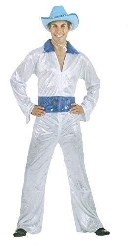 Brandsseller Herren Karneval Kostüm Disco King Party Junggesellenabschied Verkleidung Silber/Weiß/Blau 52/54