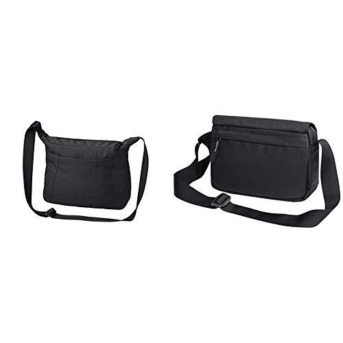 Jack Wolfskin Damen Umhängetasche VALPARAISO BAG, black, ONE SIZE & Damen JULIE praktische Schultertasche, black, ONE SIZE
