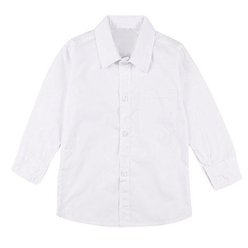 TiaoBug Jungen Hemd passt zu Krawatten und Fliege Festliches Kinder Hemd Jungenhemd weiß mit Kentkragen Party Hochzeit Weiss B 134-140