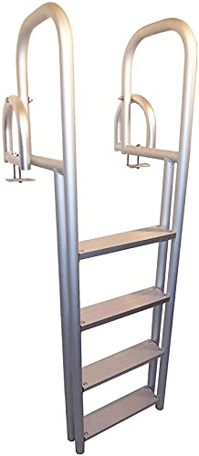 4 Step Heavy Duty Anodized Aluminum Swimming Pool Dock Ladder FLIP UP