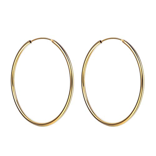 925 Sterling Silver Gold Filled Medium Circle Round Tube Hoop Earrings 50mm