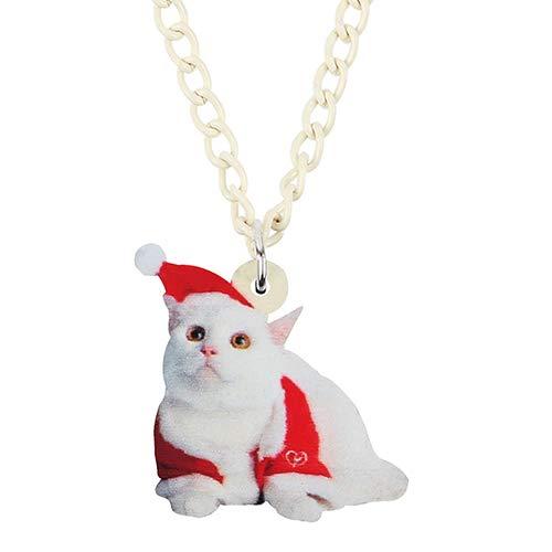 Halskette Acryl Weihnachtsmütze Shih Tzu Katze Kätzchen Halskette Anhänger Kette Tierschmuck