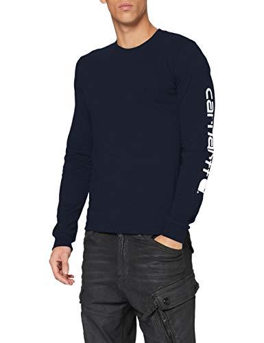 Carhartt Herren Signature Logo Long-Sleeve T-Shirt, Navy, 2XL