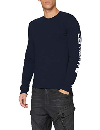 Carhartt Herren Signature Logo Long-Sleeve T-Shirt, Navy, 2XL