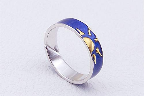 KHJH Bague Reglable Femme Argent,925 Sterling Silver Sun Male Blue Rings Charm Fashion Anniversary Wedding Gift for Couple Girl Lady Men