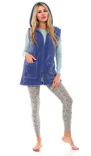 TowelSelections Women's Bed Jacket, Hooded Vest, Zip Front Cardigan Fleece Robe Medium Deep Periwinkle