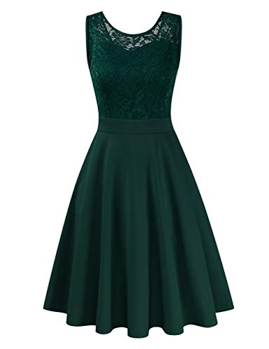 Clearlove Damen Kleider Elegant Spitzenkleid 3/4 Ärmel Cocktailkleid Rundhals Knielang Rockabilly Kleid(Verpackung MEHRWEG), Ärmellos Grün, S
