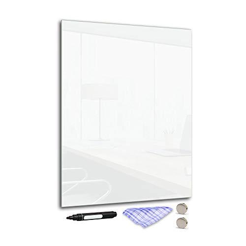 DekoGlas Magnettafel 'Weiß' aus Glas 30x40cm, Memoboard inkl. Stift, Tuch & Magnet, Metall-Pinnwand für Küche & Büro