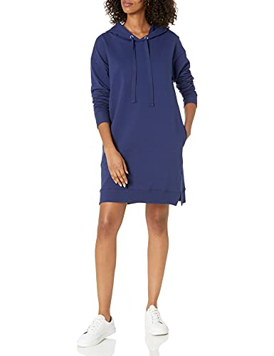 The Drop Women's Iona Long Sleeve Hooded Mini Sweatshirt Dress, Navy, M