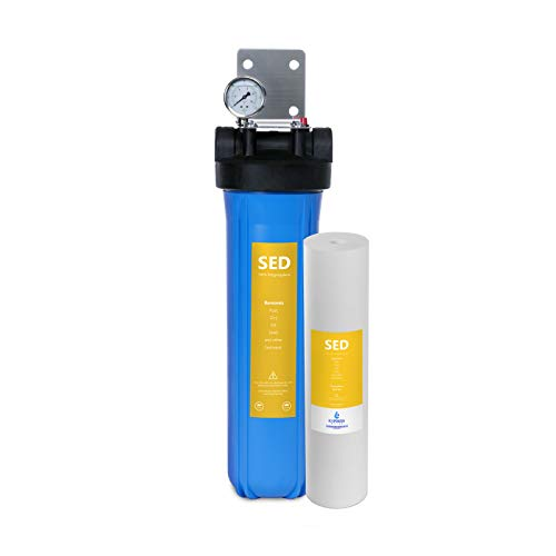Express Water Whole House Water Filter, 1 Stage Home Water Filtration System, Sediment Filter, includes Pressure Gauges, Easy Release, and 1 Inch Connections.
