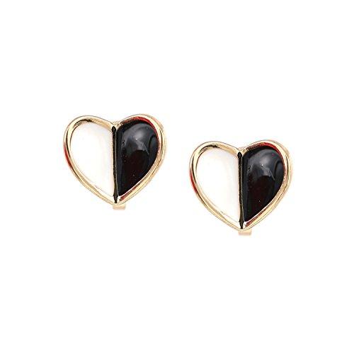 Idin - Orecchini a clip smaltati a forma di cuore, colore: Nero e Bianco