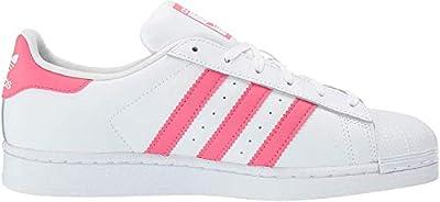adidas Originals Unisex Superstar Running Shoe, White/Real Pink/Real Pink, 6 Medium US Little Kid