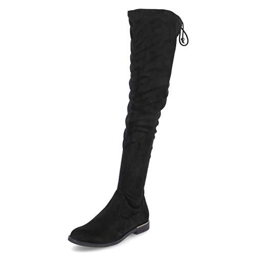 Tamaris Damen Stiefel, Frauen Overknee Stiefel, Women Woman Freizeit leger Overknee-Boots lederstiefel Flacher Absatz weiblich,Black,40 EU / 6.5 UK
