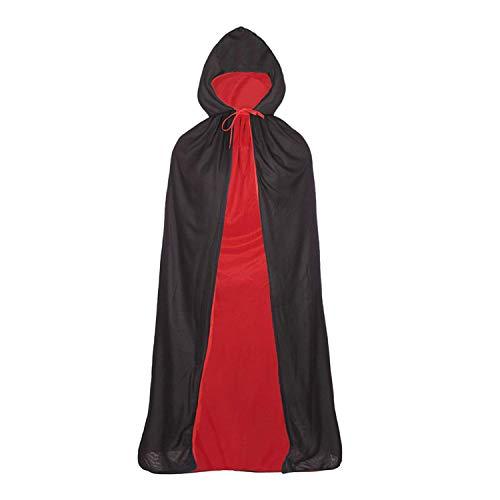 GAOU - Mantello Unisex Reversibile con Cappuccio, Costume da Strega, Diavolo, vampiri, Colore: Nero/Rosso, M-120cm/ 47.2¡±