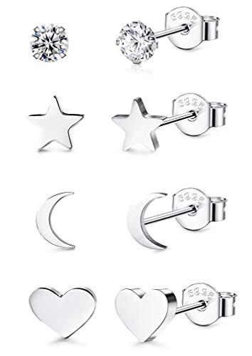CASSIECA 4 Paar 925 Sterling Silber Ohrstecker für Damen Mädchen Zirkon Ohrstecker Mond Sterne und Herzen Kleine Ohrringes Piercing Knorpel Modeschmuck
