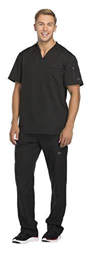 Dickies Dynamix Men's Stretch V-Neck Top DK610 & Men's Zip Fly Elastic Waist Drawstring Cargo Pant DK110 Scrub Set (Black - Small/Small)