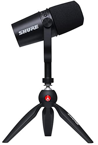 Shure Microfono USB MV7 con Treppiede, Uscita per Cuffie Integrata, Microfono Dinamico USB/XLR in Metallo, Tecnologia di Isolamento della Voce, Certificato TeamSpeak, Nero