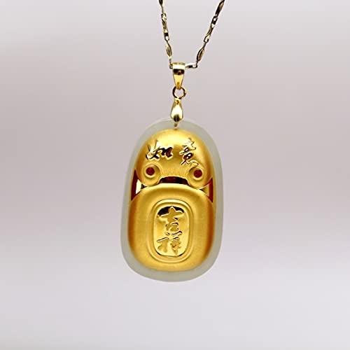 JIUXIAO Collar de Jade Hetian Blanco Natural para Hombres y Mujeres, Colgantes de la Suerte Ruyi de Oro de 24 K, joyería Fina, Hermoso Regalo para los Amantes de la Familia