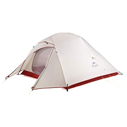 Naturehike Cloud-Up 3 Person Lightweight Backpacking Waterproof Tent Easy Setup - 4 Season for Outdoor Camping,Backpacking,Hiking,Mountaineering Travel-20D Grey Skirt