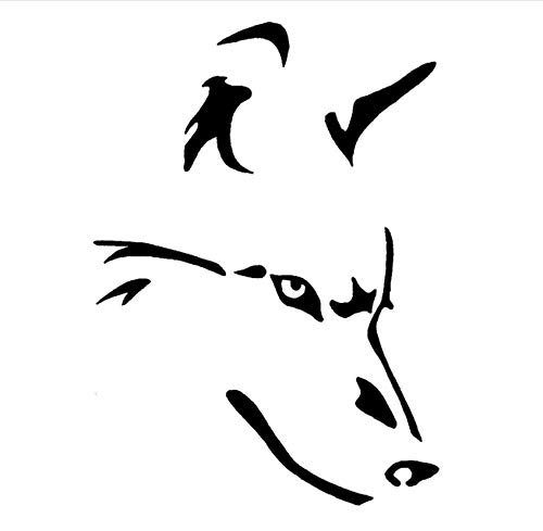 Wandtattoos Wandbilder(2 Stück/Set) Wolf Strichmännchen Auto Form Aufkleber Kreative Einfache Vinyl Körper Aufkleber Schwarz 14.4 X 20 Cm