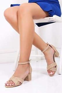 TARÇIN Hasır Deri Günlük Kadın Topuklu Sandalet Ayakkabı TRC130-7063
