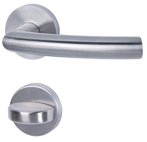 Alpertec 28020330 Edelstahl Kingston II-R für Badtüren WC Drückergarnitur Türdrücker Türbeschläge Neu, für Badezimmertüren