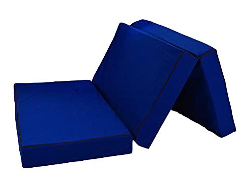 Colchón plegable de lujo Shogazi Travel 140 x 200 x 12 cm, azul, también para adultos de hasta 100 kg, colchón de viaje, colchón de invitados, colchón plegable