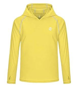 VEOBIKE Boy s and Girl s UPF50+ Sun Protection Shirts Lightweight Long Sleeve Hoodies T-Shirts for Hiking Yellow