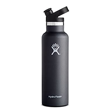 Hydro Flask Stainless Steel Vacuum Insulated Sports Water Bottle with Cap, Black, 21 Ounce