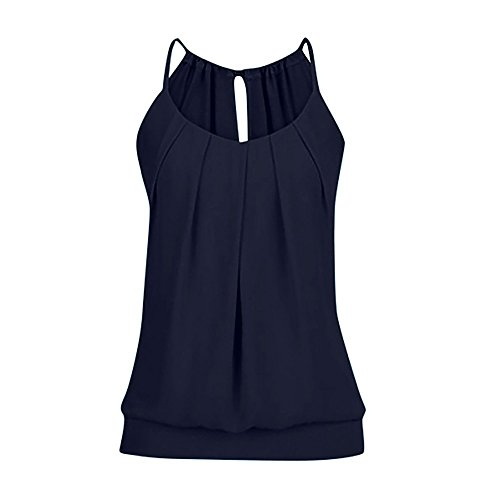 iHENGH Damen Sommer Top Bluse Bequem Lässig Mode T-Shirt Blusen Frauen lose faltige O Ansatz Cami Trägershirts Weste Bluse(Marine, 3XL)